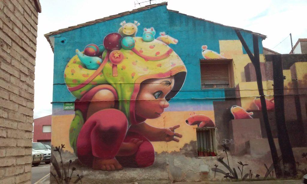 Mural de Animalito Land en Alfamén Zaragoza